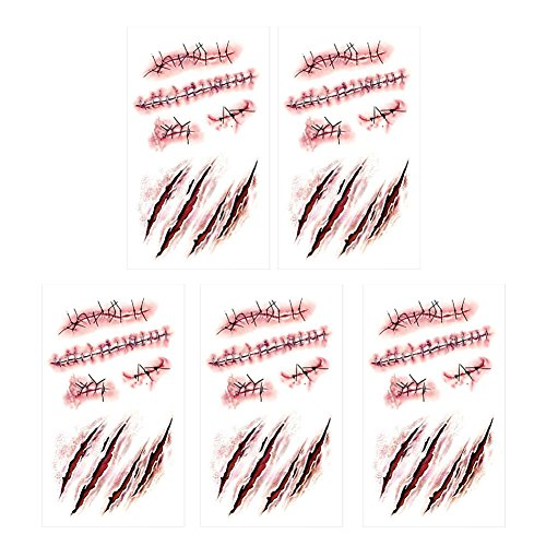 SpringPear 5x Temporary Horror Tattoo Sticker for Halloween Party Waterproof Tattoo with Realistic Wound Blood Trails Scar (5 Pcs RC-251)