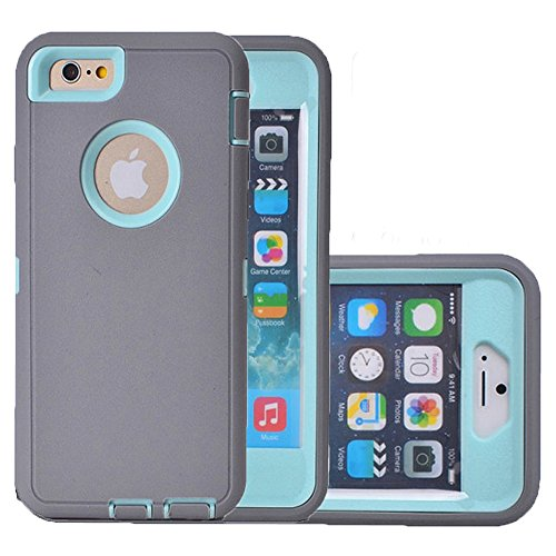 iPhone 6 Case,iPhone 6s Case,NCIE(TM) Defender Series Full-body Rugged Hybrid Heavy Duty Hard Cover Shockproof Case and Screen Protector for Apple iPhone 6/6s (Gray+Light Blue)
