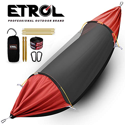 ETROL Hammock, Upgrade Camping Hammock with Mosquito Net, 3 in 1 Blackout Design Aluminium Portable Hammock Tent for Backyard, Traveling, Hiking, Beach and Other Outdoor Activities (Black & Red) (Best Small Backyard Designs)