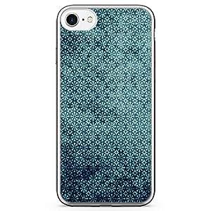 iPhone 8 Transparent Edge Phone case Elegant Pattern Phone Case Dark Green iPhone 8 Cover with Transparent Bumper