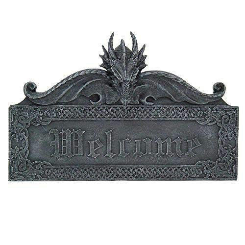 ShopForAllYou Figurines and Statues Medieval Gothic Guardian Dragon Welcome Plaque Door Greeting Wall Sculpture