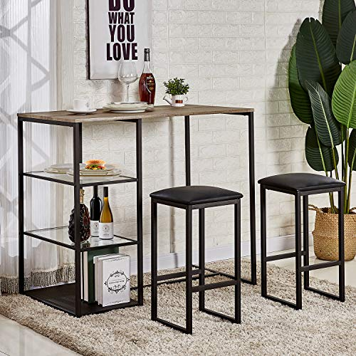 VECELO 3-Piece Pub Dining Set Table with Cushion - Table Bar 3 Set Piece
