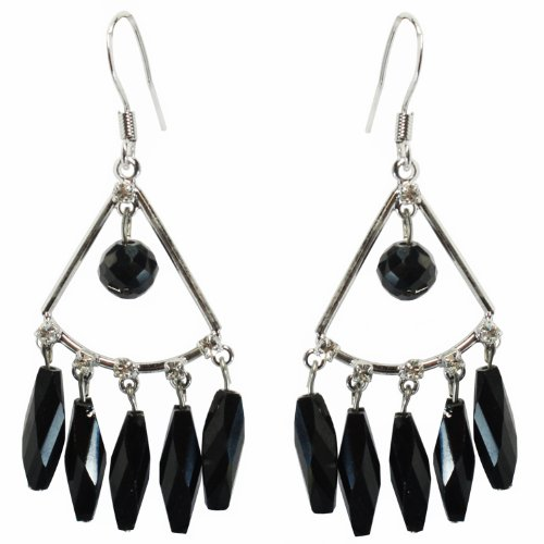 Faceted Cylinder (BDJ Rhodium Plated Faceted Cylinder Black Onyx Drop Dangle Earrings)