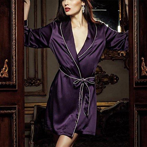HXQ Camisas de seda de mujer de seda Albornoz de seda Mujer Pijamas , deep purple deep purple