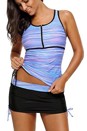 Eternatastic Women Printed Swimwear Zip Front Tankini Swimsuits with Skirt S Blue