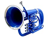 eMusicals Euphonium Bb Pitch With Free Bag and MouthPiece , Blue Color + Nickel