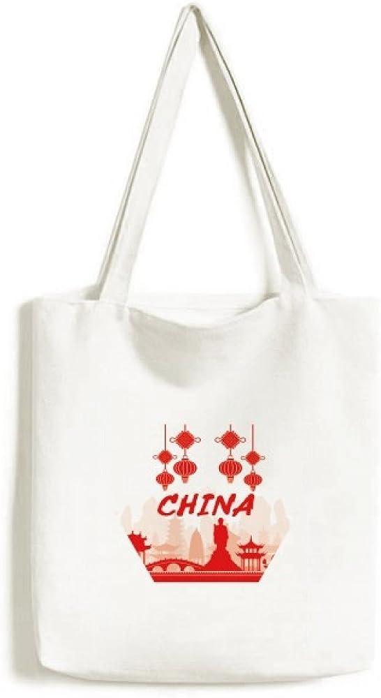 Red Outline Landmark China Tote Canvas Bag Shopping Satchel Casual Handbag