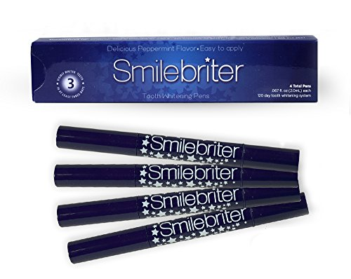 Smilebriter Teeth Whitening Gel Pens - Extra Strength 44 Carbamide Peroxide Whitening Gel - Easy At Home Teeth Whitening Kit - Organic, Non-Toxic and Cruelty-Free - 4 x Brush On Teeth Whitening Pens