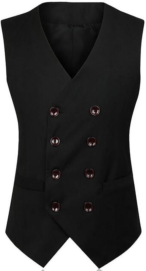 MK988 Mens Sleeveless Waistcoat Slim Fit Formal Solid Color Suit Vests