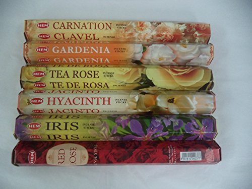 Iris Gardenia Perfume - Hem Floral Variety Combo Set 120 Incense Sticks 6 x 20 Stick Flower Best Sellers