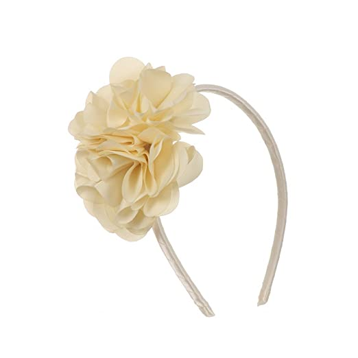 Amazon com: Kids Dream Girls Ivory Satin Flowers Headband