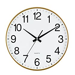 SANNIX Silent Decorative Round Non-ticking Quartz Digital Wall Clock-Champagne,14inch