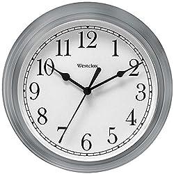 Analog Wall Clock, Westclox Simplicity Silver 9in Decorative Wall Clock Bedroom