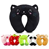 Travel Pillow for Kids Toddlers - Soft Neck Head Chin Support Pillow, Cute Animal, Comfortable in Any Sitting Position for Airplane, Car, Train, Machine Washable, attach luggage, Children gift (cat)