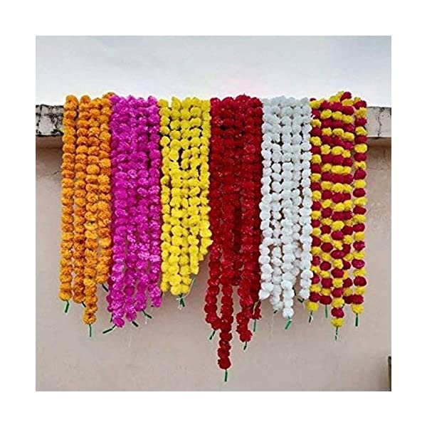 Nexxa 5 ft Long- 10pc Fresh Real Lok Artificial Marigold Flower Garlands- for use in Home Parties Diwali Ganesh Fest Decor, Celebrations, Indian Weddings, Indian Themed Event, House Decorations