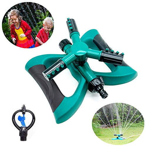 Lawn Sprinkler Garden Sprinkler – Automatic 360 Rotating Adjustable Garden Water Sprinklers Lawn Irrigation System Covering Large Area with Leak Free Design Durable 3 Arm Sprayer, Easy Hose Connection