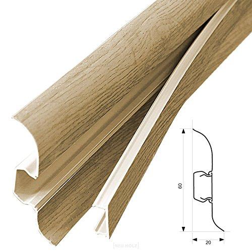 [neu.Haus] PVC Sockelleiste (30m x 6cm)(12 x 2, 5 m) - Eiche Natur - mit Kabelkanal Fuß leiste Laminatleiste aus PVC Kunstoff [neu.holz]