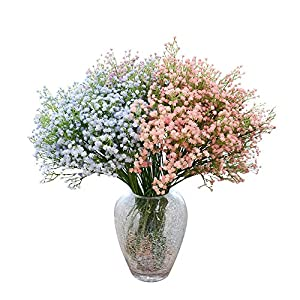 Ya Jin 8pcs Real-touch Artificial Baby Breath Flowers Home Wedding Bridal Bouquet Party Decor 4