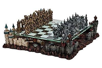 "17"" Fantasy Good Vs. Evil 3D Chess Set, Bronze & Silver Tone"