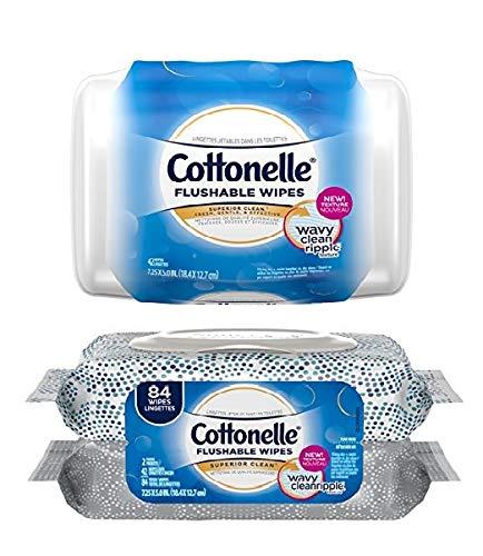 (Cottonelle Fresh Care Flushable Moist Wipes Bundle, 1-42 Count Tub, Plus 2-42 Count Refills)