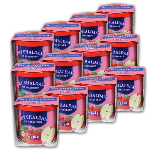 Pack of 12 My Shaldan Japanese Car Cup-Holder Natural Air Freshener Cans (Apple Scented)