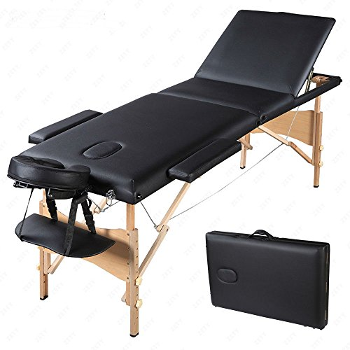 "84""L 3 Fold Portable Massage Table Facial Tattoo SPA Bed w/Carry Case Black from Unknown"