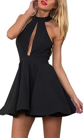 50c8b67ac9f86 Amazon.com: Lucky Girl Women's Halter Style Open Front Mini-dress: Clothing