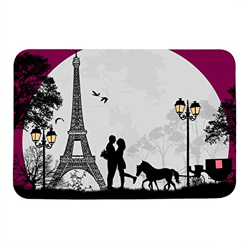 Burning Love Short Plush Material Valentine's Day Love in Night Paris Printed Doormat, Non-Slip Doormats, Size40X60CM. (Paris Short)