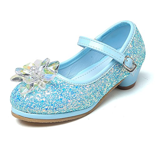 Chiximaxu Maxu Girl's Cosplay Princess Shoes Low Heel with Crystal Flower Light Blue Little Kid Size 1