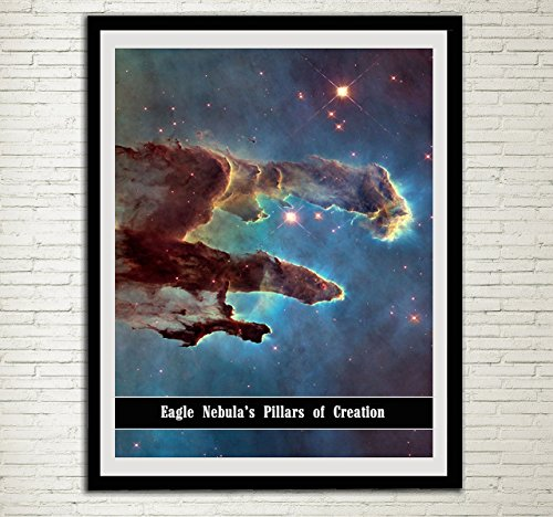 Hubble Telescope Poster Eagle Nebula's Pillars of Creation NASA Home Decor Astronomy Wall Art Space Bedroom Decor Cosmos Kid's Room Decor Archival Fine Art