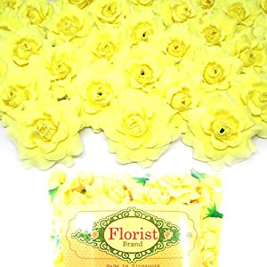 "(100) Silk Light Yellow Roses Flower Head - 1.75"" - Artificial Flowers Heads Fabric Floral Supplies Wholesale Lot for Wedding Flowers Accessories Make Bridal Hair Clips Headbands Dress 1"