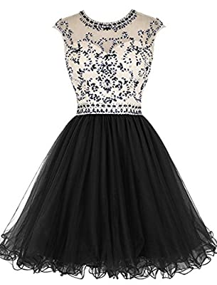 ALAGIRLS Short Beading Homecoming Dress Tulle Prom Dress Hollow Back