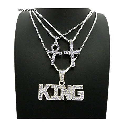 MENS ICED OUT GOLD SILVER KING ANKH, CROSS, RED RUBY, PLUG PENDANT BOX CHAIN 3 NECKLACE SET HIP HOP (Silver King Ankh (Diamond Pendent Set)