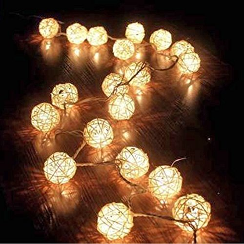 AOTOSOLO 13.8ft/4m 40LED Wooden Rattan Ball String Light, Battery Powered Globe Fairy Lantern Lights for Christmas/Outdoor/Camping/Garden/Yard/Patio/Party/Wedding/Home Decoration(warm white) (Paint Rattan)