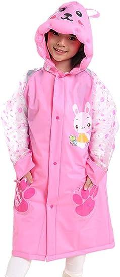 Girls Kids Rain Coat Cartoon Animals Pattern Hooded Raincoat Age 4-10 T Boys