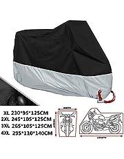 ANFTOP Motorhoes stof regen bescherming met gat buiten zware waterdichte zon UV-bescherming met beweegbare opbergzak zwart zilver garage scooter dekzeil