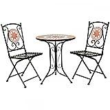 Charles Bentley Terracotta Mosaic 2 Seater Bistro Set Patio Garden Outdoor Furniture - Orange & Blue