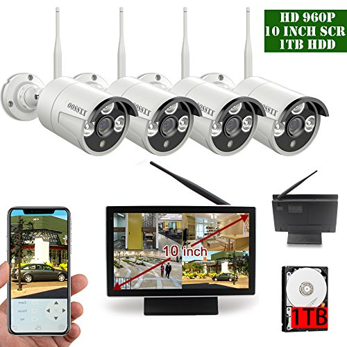 【2018 Update】10 inch Screen OOSSXX HD 1080P 4 Channel Wireless Security Camera System,4 pcs 960P 1.3 Megapixel Wireless Weatherproof Bullet IP Cameras,Plug and Play,70FT Night Vision,P2P,App, 1TB (4 Channel Wireless Kit)
