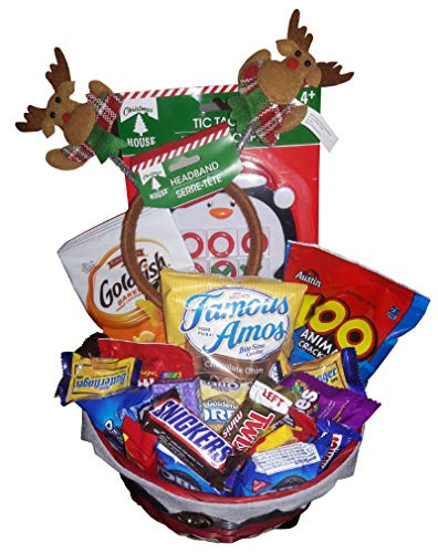 (Holiday Candy Gift Basket for Boy or Girl | Filled With Candy,Chocolates, Games and Headband | Pre Wrapped with Bow. Great for Thanksgiving Christmas (Red))