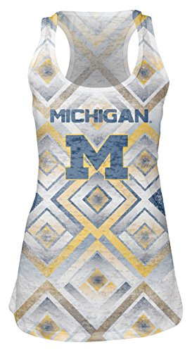 Blue 84 NCAA Michigan Wolverines Women's Sublimated Burnout Tank Top, Large, White
