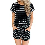 MIHOLL Women's Summer Striped Jumpsuit Casual Loose Short Sleeve Jumpsuit Rompers (Black, Small)
