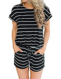 Women's Summer Striped Jumpsuit Casual Loose Short Sleeve...