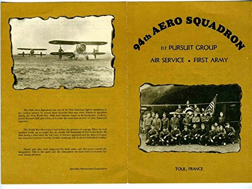 94th Aero Squadron Souvenir Menu 1977 1st Pursuit Group Air Service First Army
