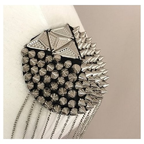 Pyramid Stud Spike Epaulet - Gunmetal By Shinetrim (Applique Epaulet)