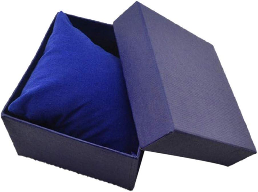 collectsound - Caja Cuadrada de cartón para Guardar Relojes, Pulseras, Joyas, Caja de Regalo con Almohadilla de Almohada, Azul, Talla única