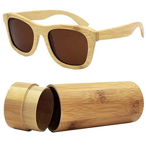 607179ce15 iSunHot 1-Pack Gafas de sol de Madera de Bambú con Marrón Lente Polarizada  de Protección UV en Vintage ...