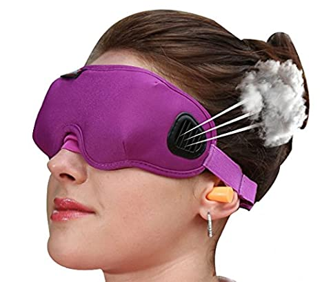 Sleep Tight Mask 3D Sleep Travel Mask With EarPlugs for Sleeping Traveling Contoured Shape 2 Types Purple Girl Office Sleeping (Return Labels For My Orders)