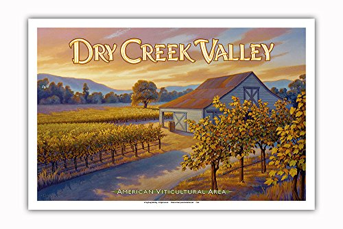 Pacifica Island Art Dry Creek Valley Wineries - Along Dry Creek Road - North Coast AVA Vineyards - California Wine Country Art by Kerne Erickson - Master Art Print - 12in x 18in