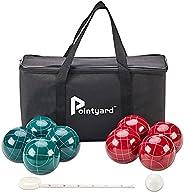 Pointyard Bocce Ball Set, 90mm Classic Bocci Ball Set with 8 Resin Bocce Balls/1 Pallino/NylonZippered Bag/Me