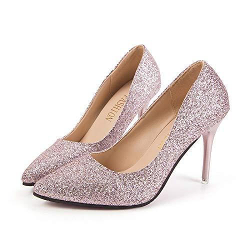 Yukun zapatos de tacón alto Tacones Altos Puntiagudos Tacones Altos Mujer Boca Baja Zapatos De Tacón De Aguja Moda Lentejuelas Cuatro Estaciones Pink